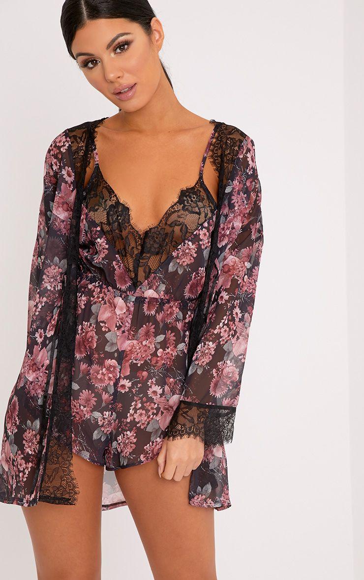 Hazel Pink Floral Print Chiffon Short Robe