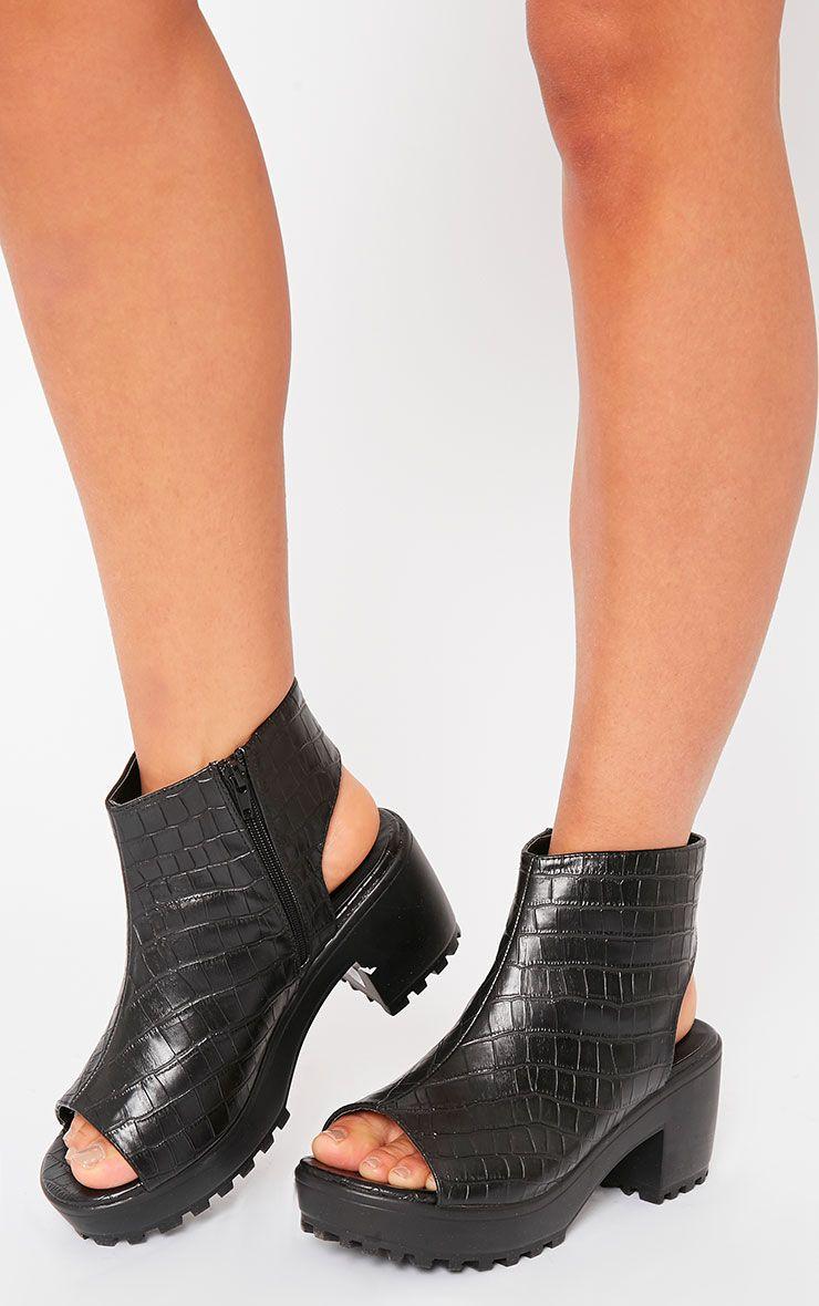 Beatrix Black Croc Peep Toe Ankle Boots 1