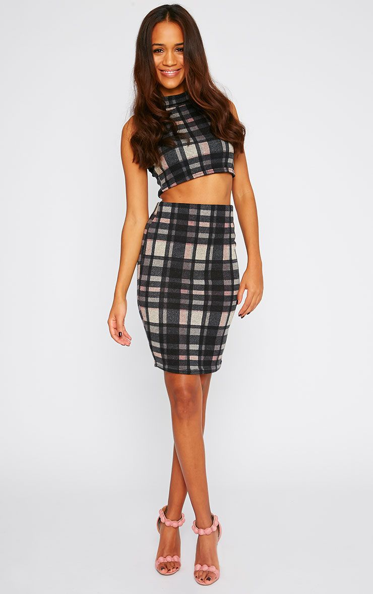 Florence Multi Check Knitted Midi Skirt  1