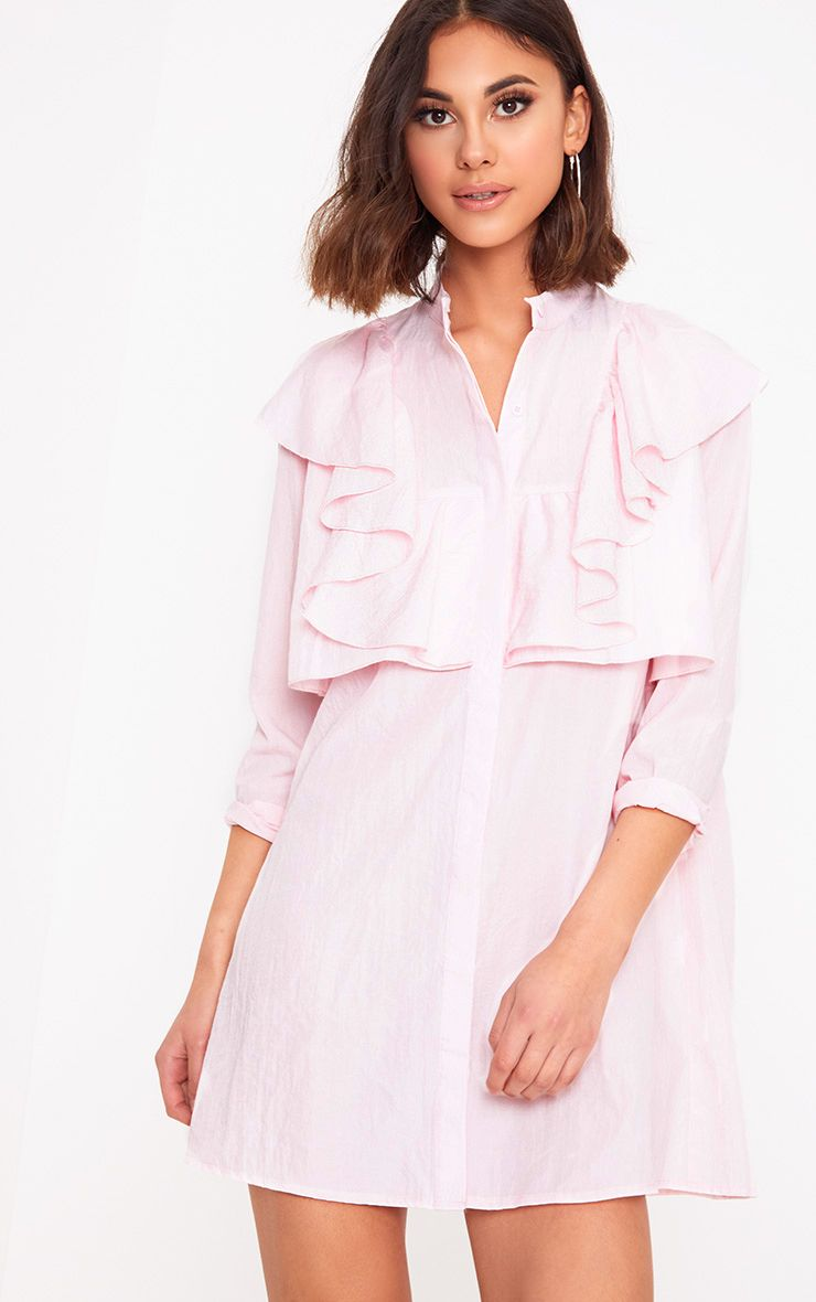 Nude Frill Front Shirt Dress