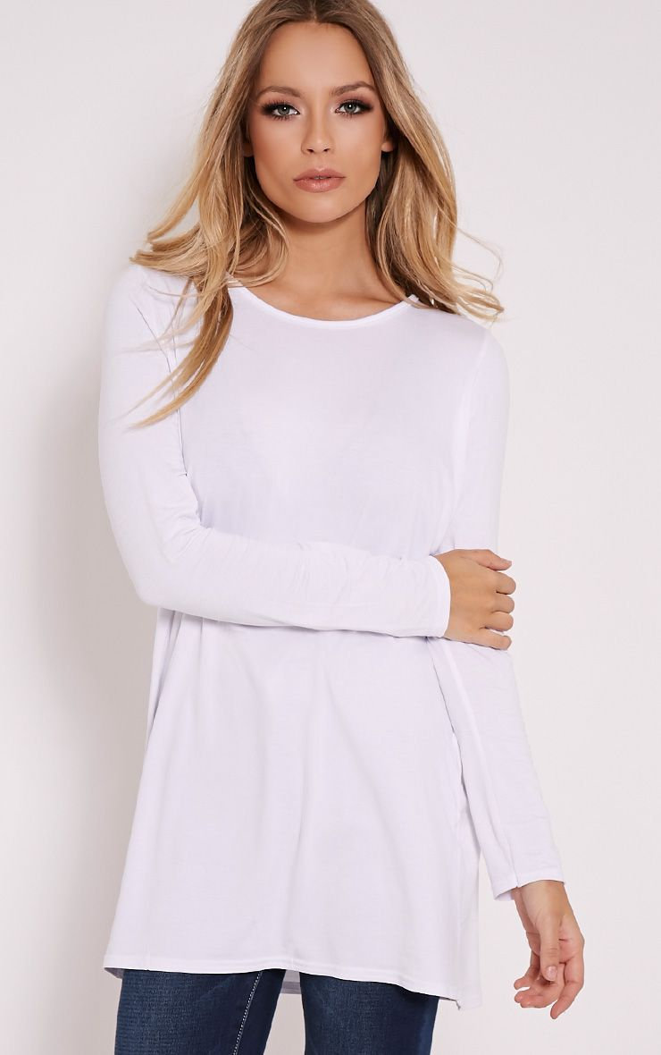 Basic White Raglan Sleeve Jersey Top 1