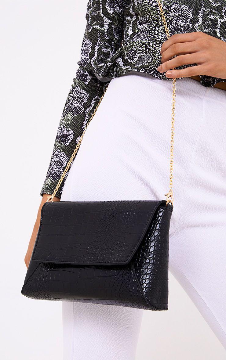 Black Reptile Structured Shoulder Bag