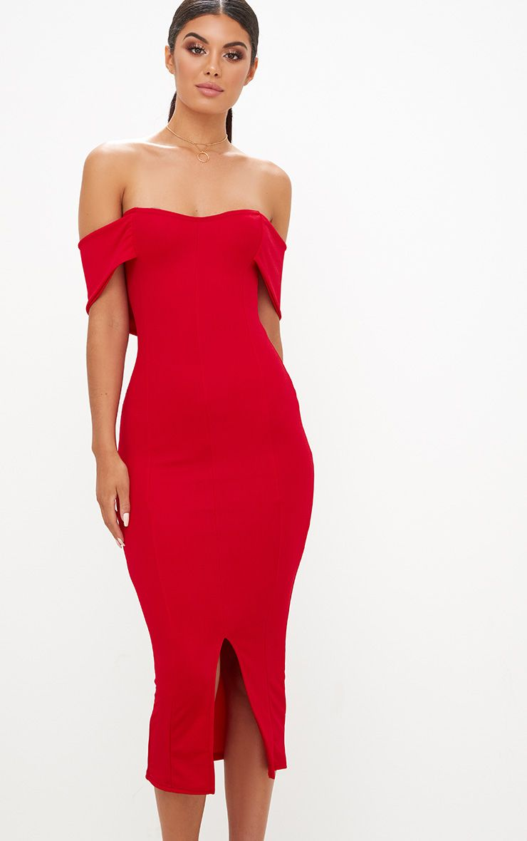 Red Bardot Tie Front Midi Dress Pretty Little Thing
