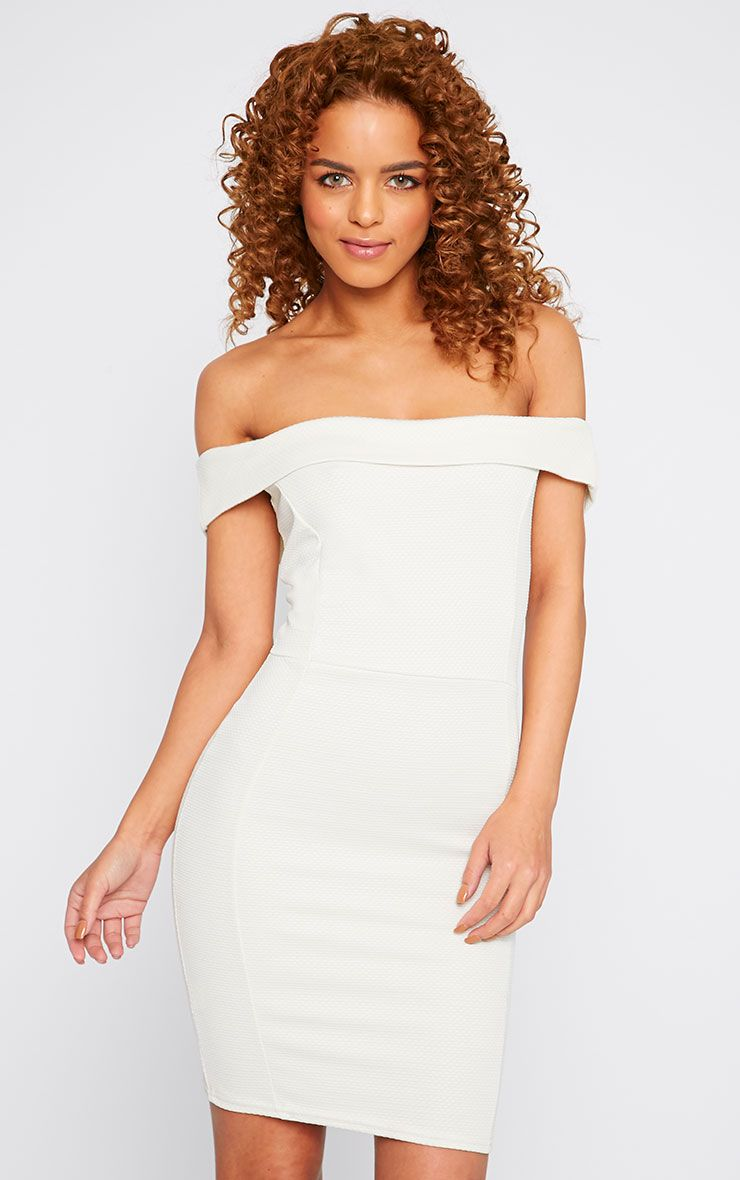 Alyssa Cream Textured Bardot Mini Dress 1