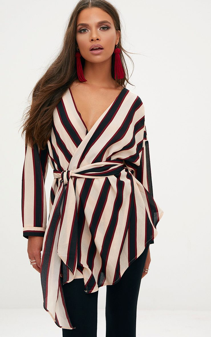 Cream Bold Stripe Tie Waist Blouse