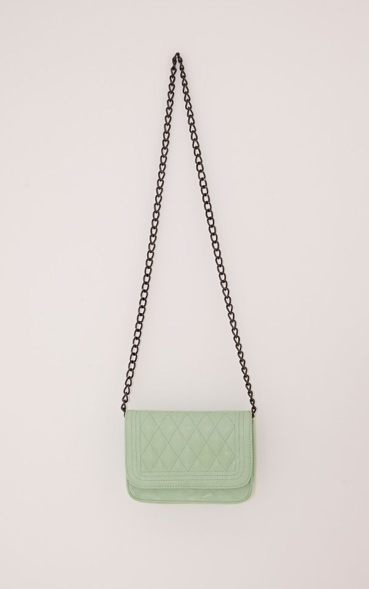 Emma Mint Quilted Chain Strap Shoulder Bag