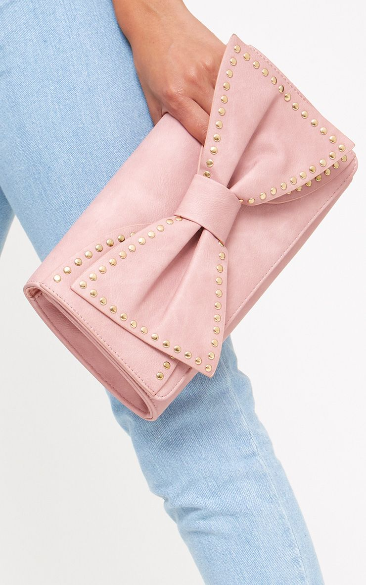 Pink Stud Bow Clutch