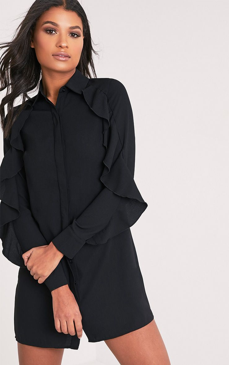 Angelica Black Ruffle Detail Shirt Dress