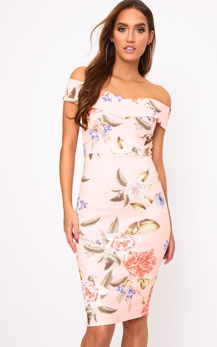 Peach Floral Bardot Midi Dress