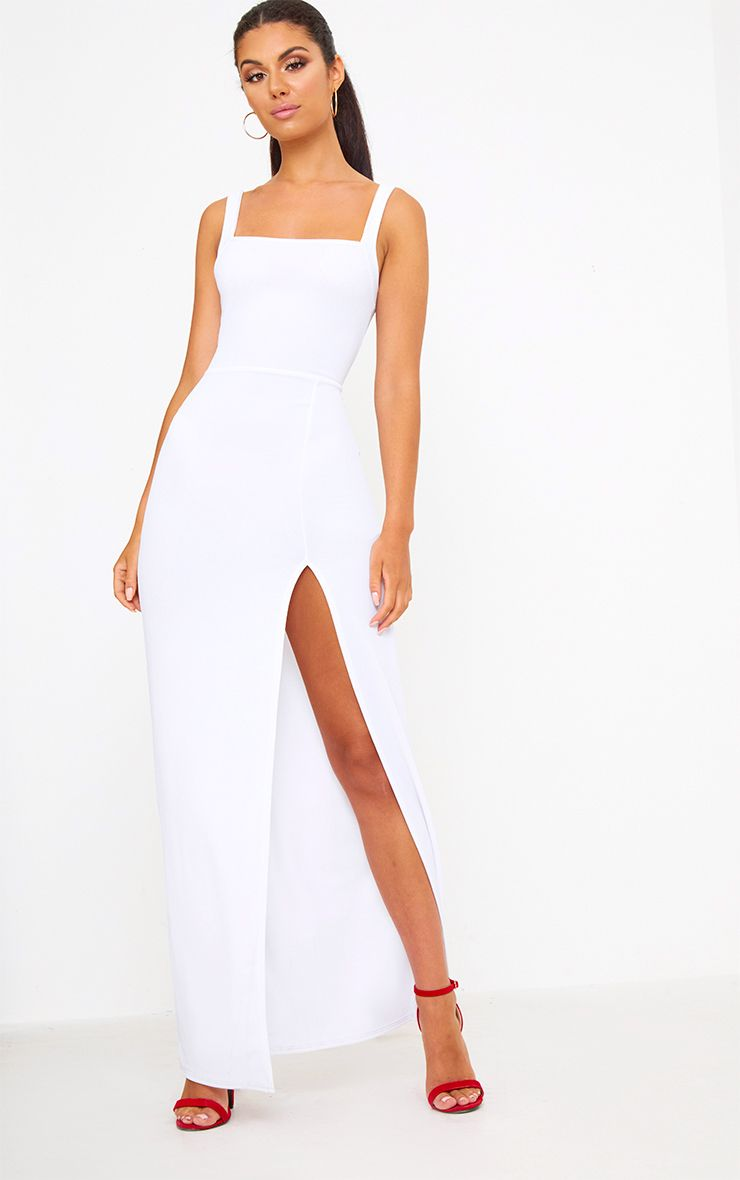 White Straight Neck Maxi Dress