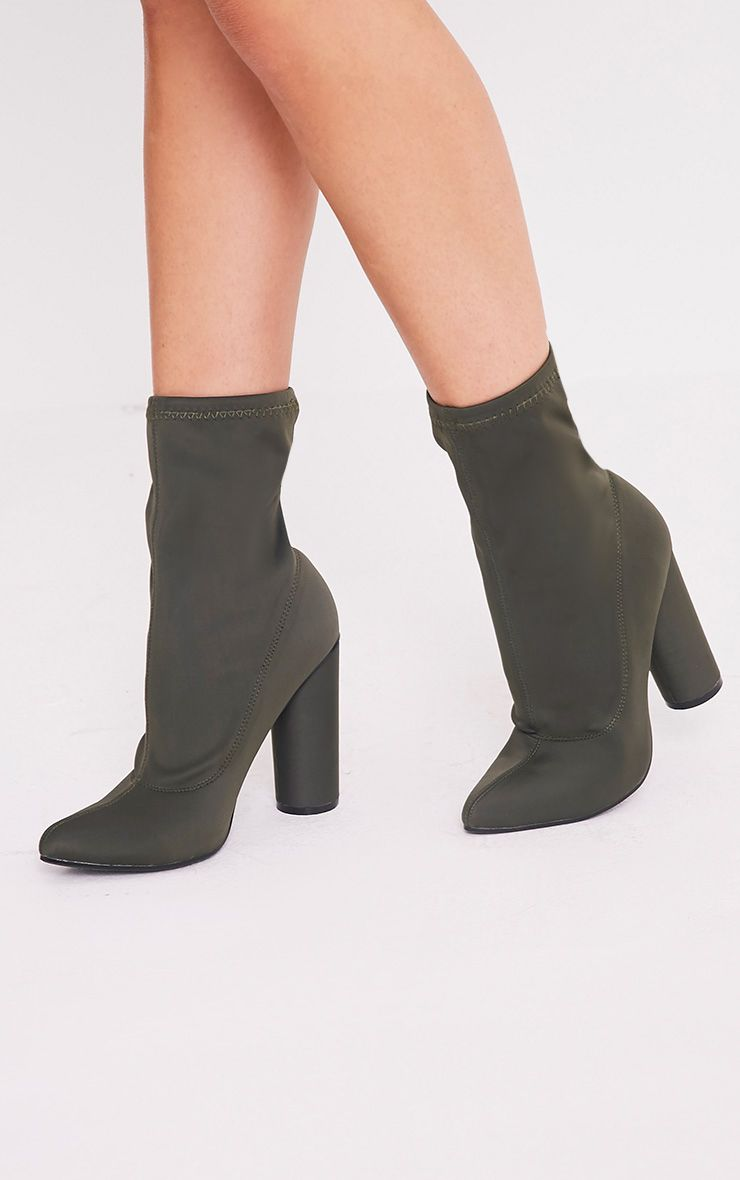 Leanah Khaki Neoprene Pointed Heeled Ankle Boots 1