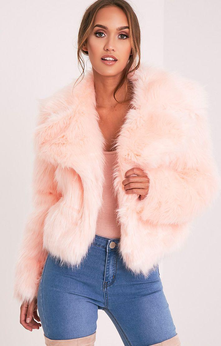 Sophiah Baby Pink Faux Fur Jacket