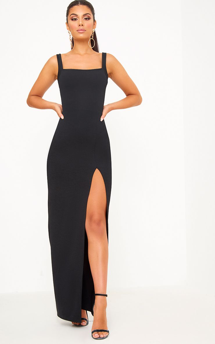 Black Straight Neck Maxi Dress