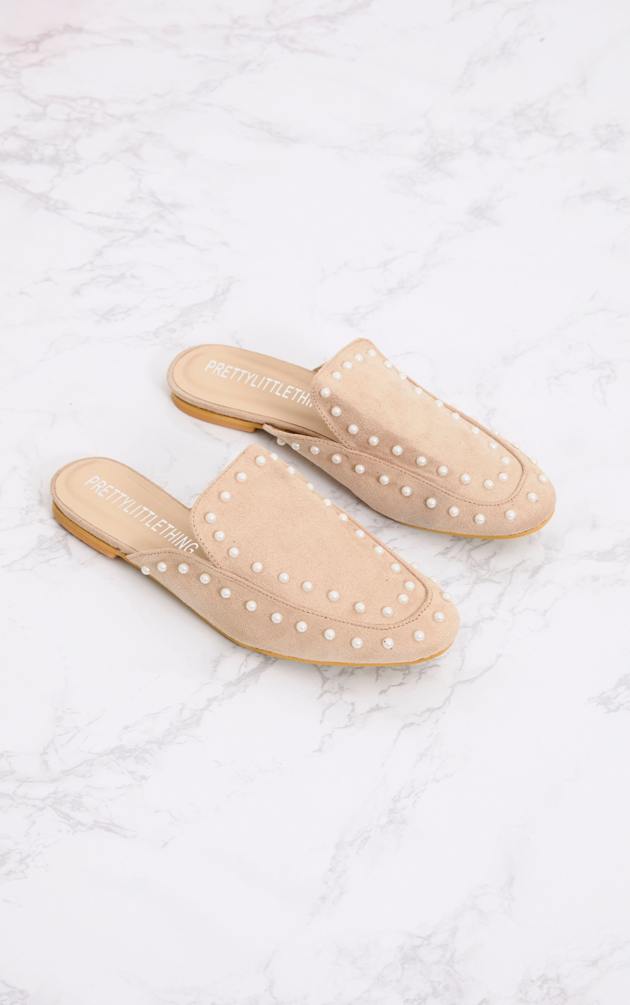 Nude Pearl Embellished Mules