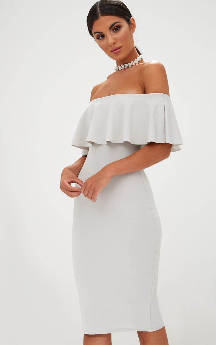 Ice Grey Bardot Frill Midi Dress