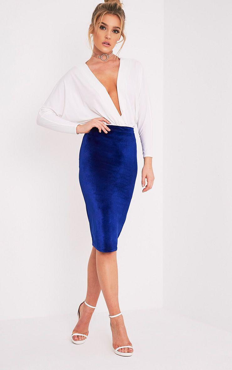 Roberta Blue Velvet Midi Skirt 1