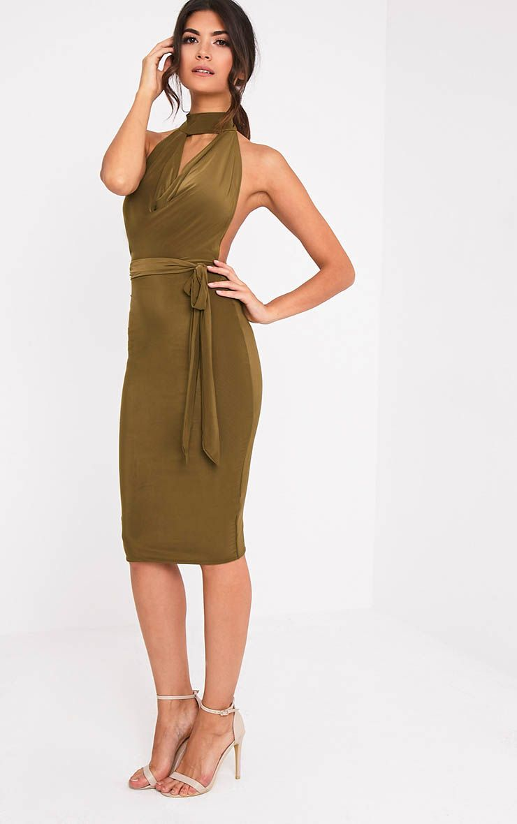Carllia Khaki Slinky Choker Neck Cowl Midi Dress