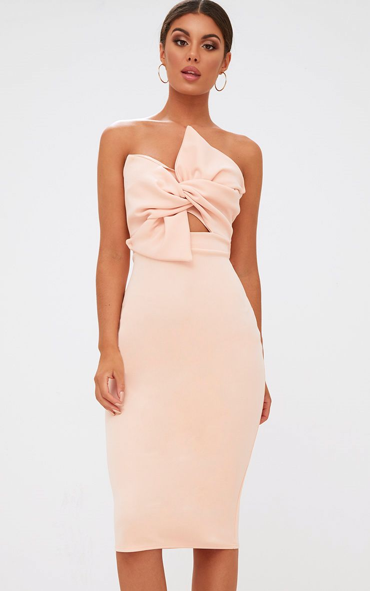 Nude Bow Detail Scuba Midi Dress