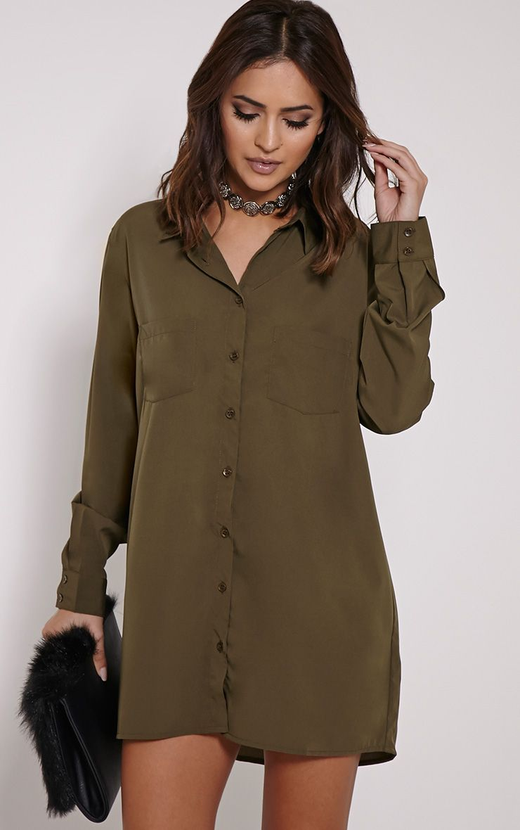 Effy Khaki Crepe Shirt Dress