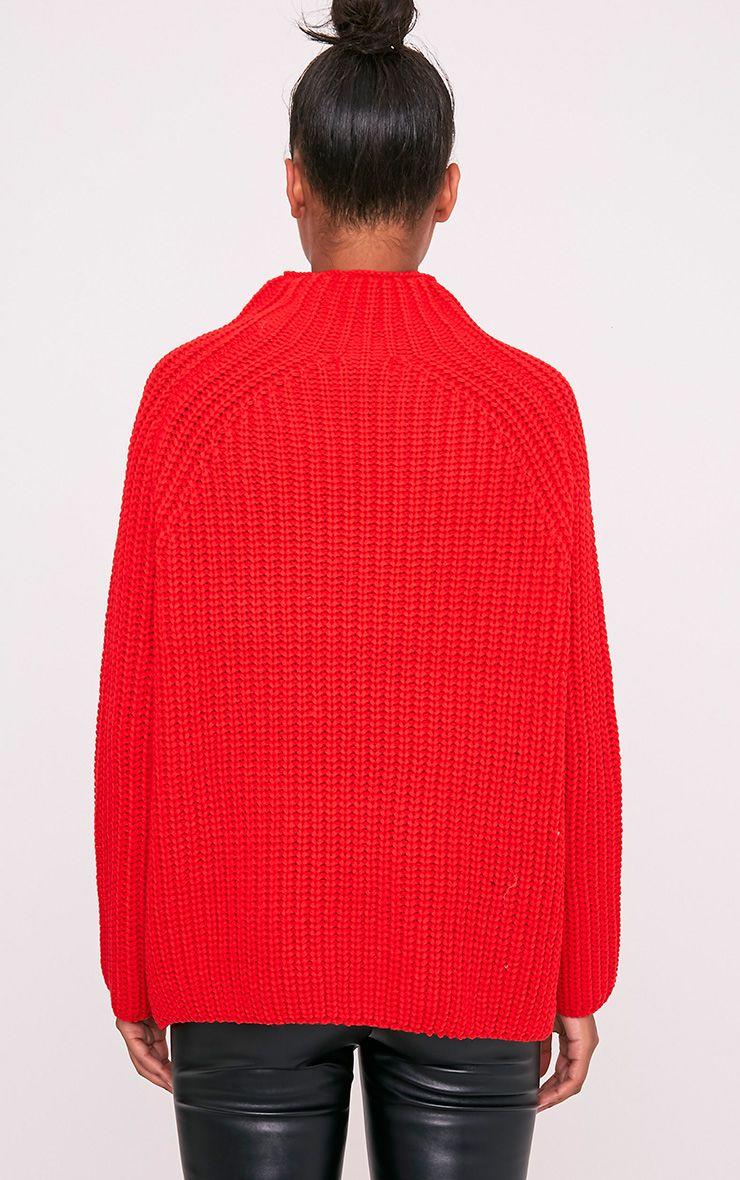 Rheana pull surdimensionné à grosse maille rouge 2