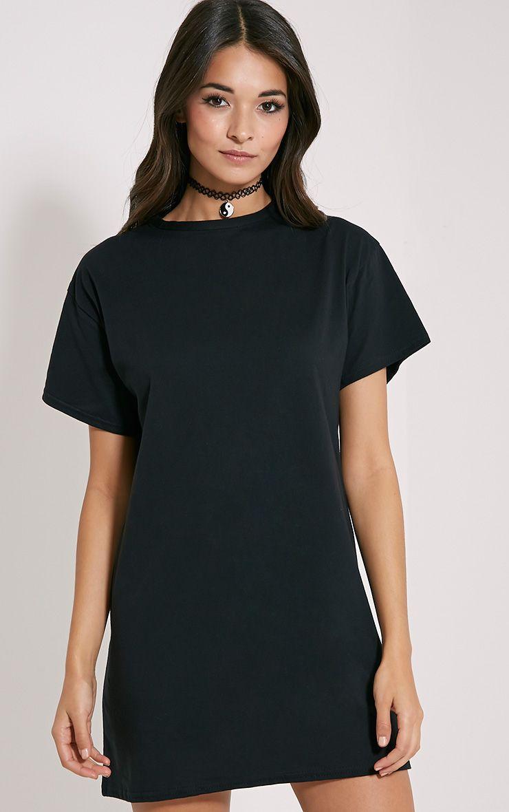 Basic robe t-shirt noire surdimensionnée 1