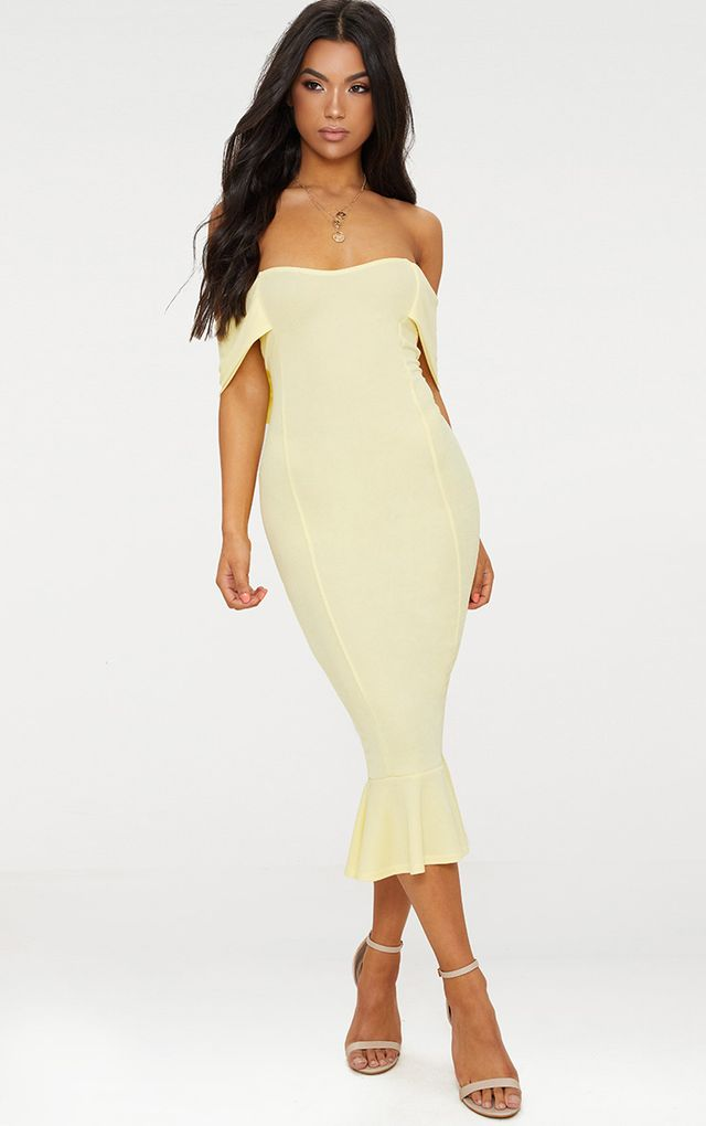 Lemon Bardot Frill Hem Midi Dress