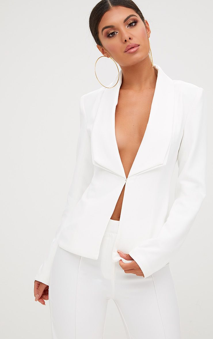 Cream Double Lapel Blazer