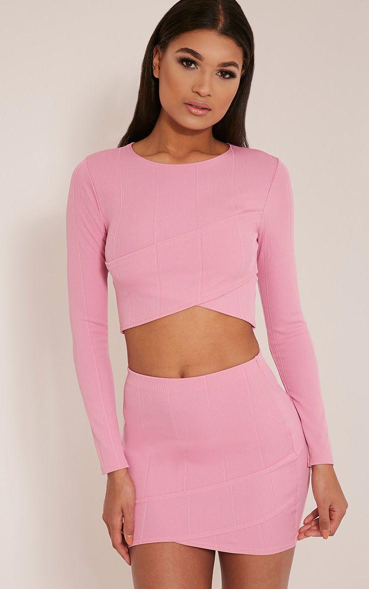 Alena Bubblegum Pink Cross Front Bandage Crop Top 1