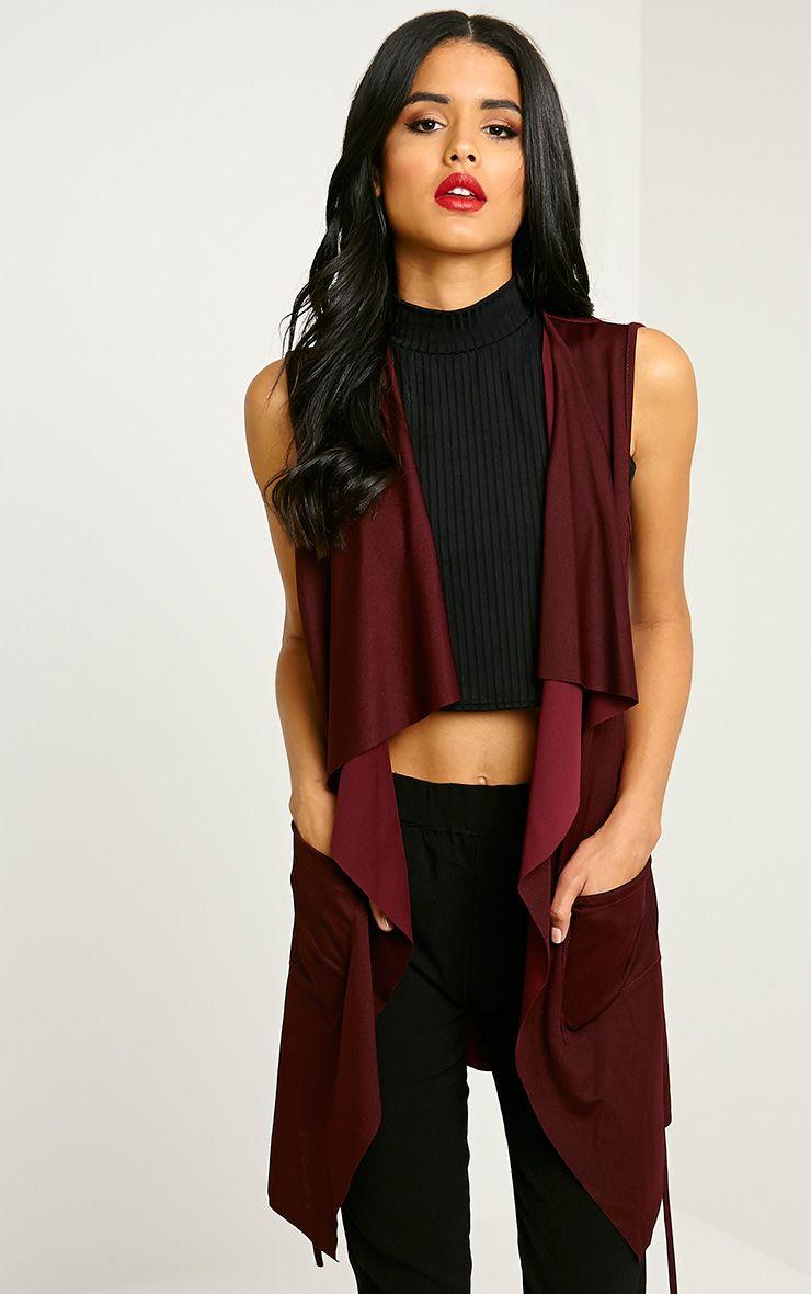 Mirabel Burgundy Belted Sleeveless Jacket 1