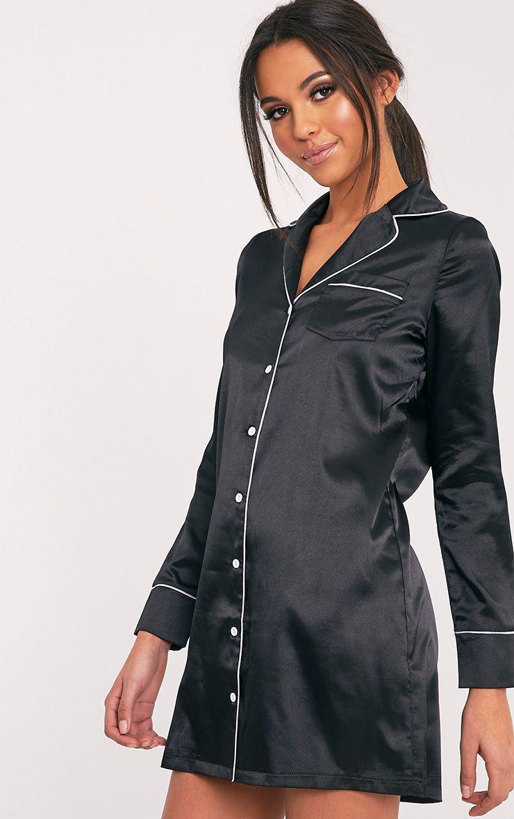 Maddison Black Satin Shirt Dress