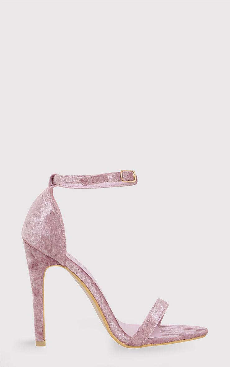 Clover Blush Velvet Strap Heeled Sandals