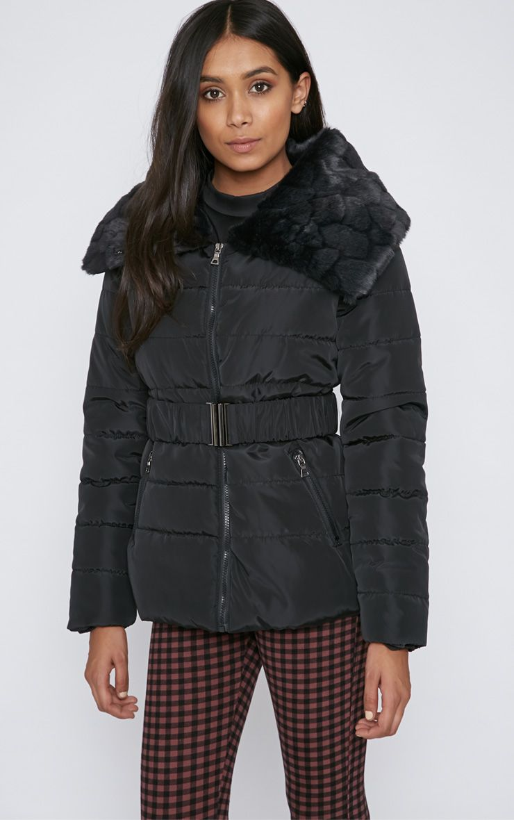 Mara Black Quilted Coat 1