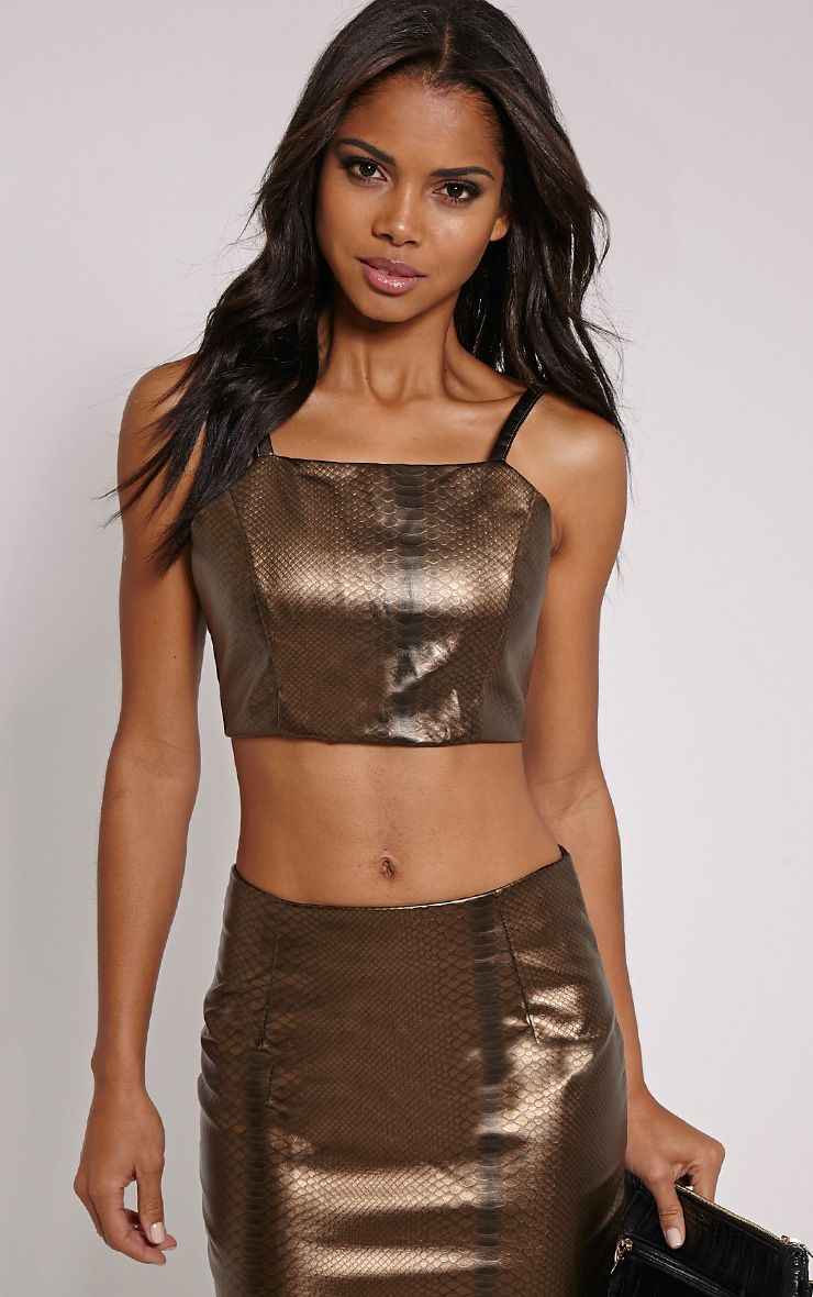 Mollie Gold Snake Print Faux Leather Crop Top 1