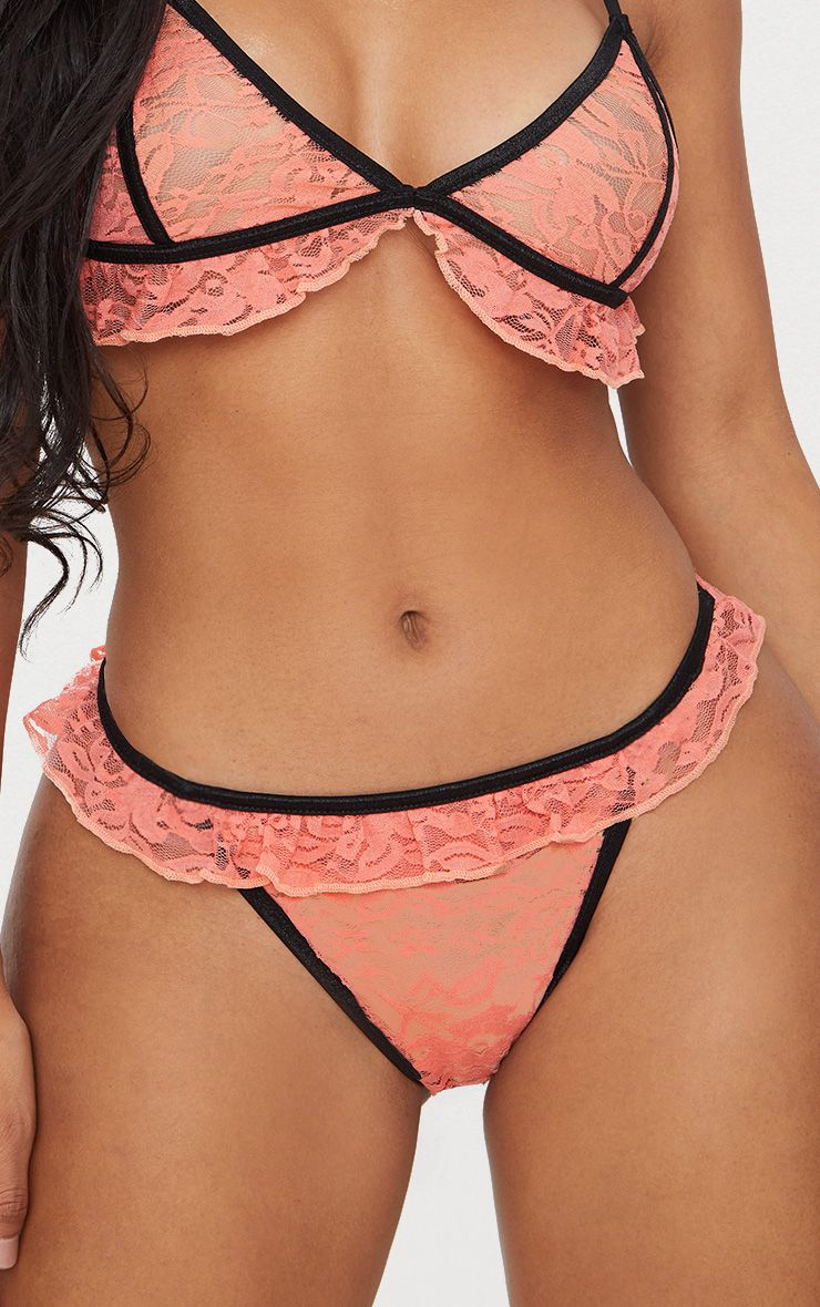 Coral Contrast Binding Lace Frill Thong