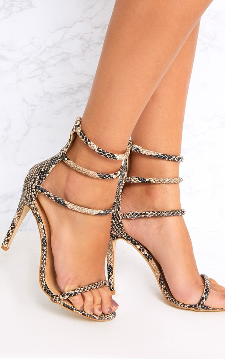 Nadine Nude Snake Print Strappy Heeled Sandals
