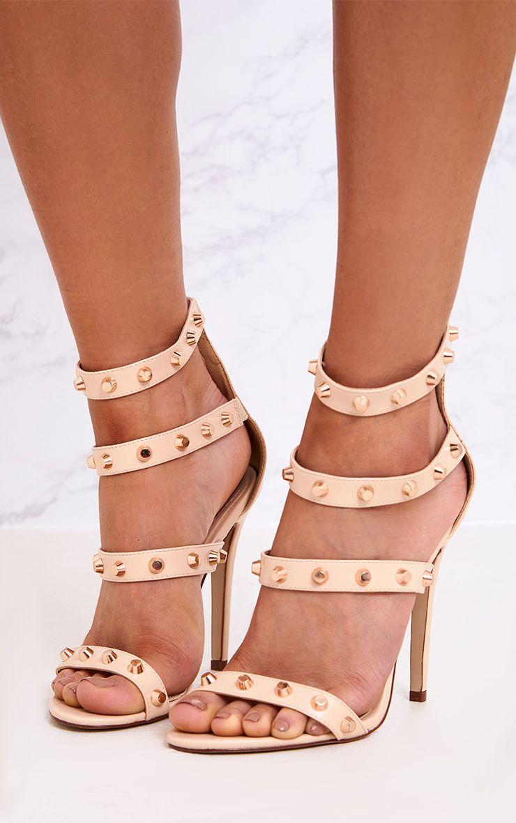 Latasha Nude Studded Strappy Heels