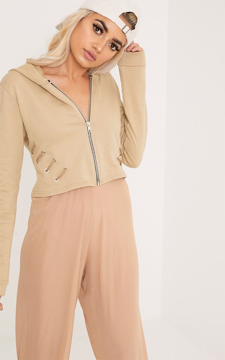 Imogen Taupe Lace Up Detail Cropped Hoodie