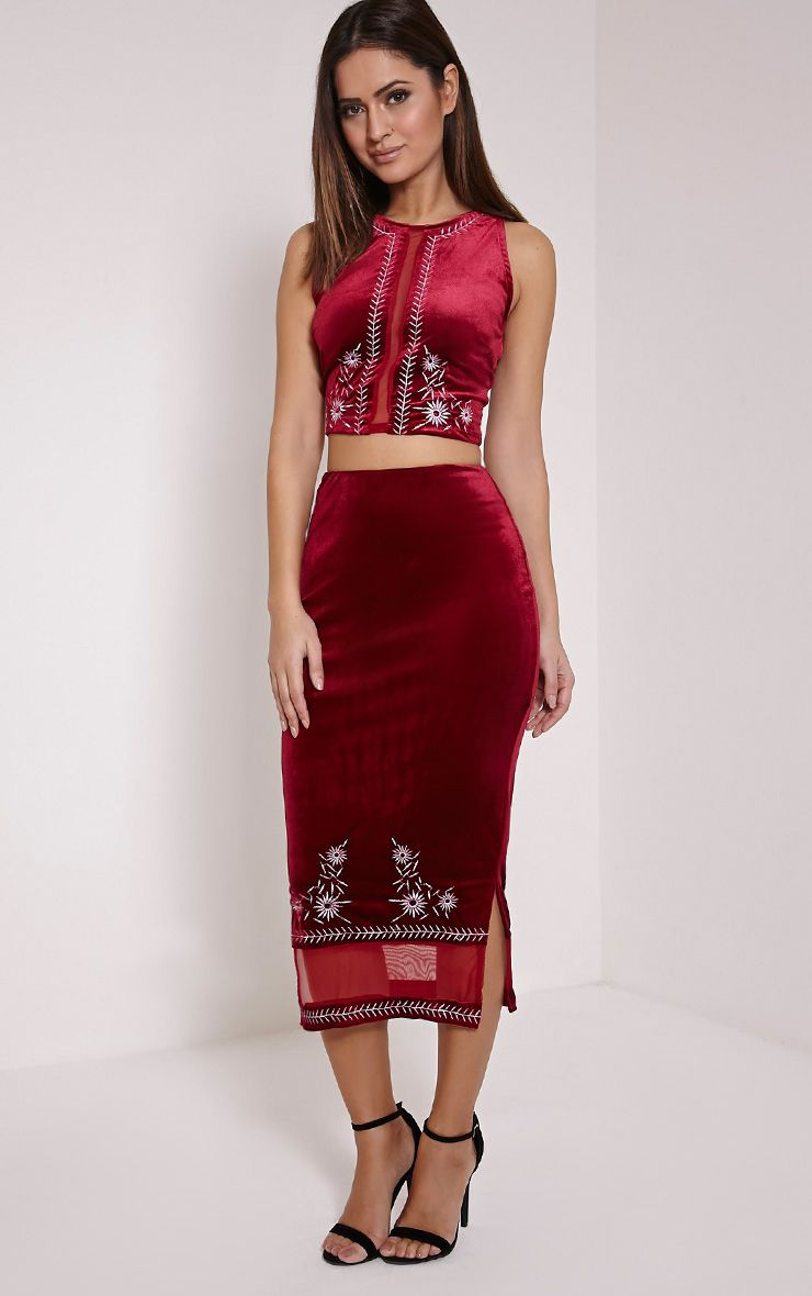 Jem Burgundy Floral Stitch Midi Skirt 1