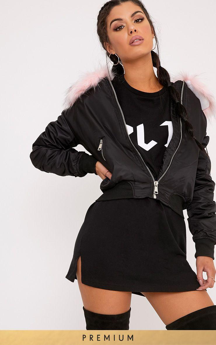 Mia Black Premium Faux Fur Collar Crop Parka