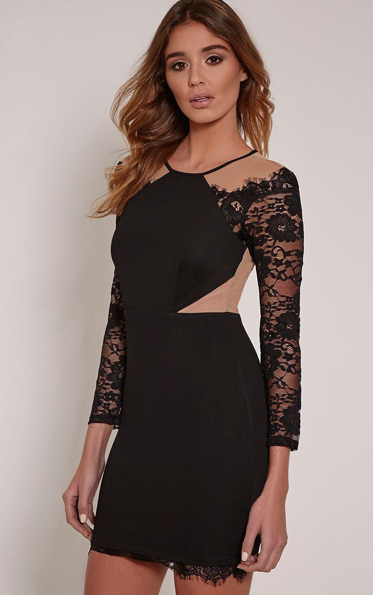 Zoe Black Lace Detail Mini Dress 1