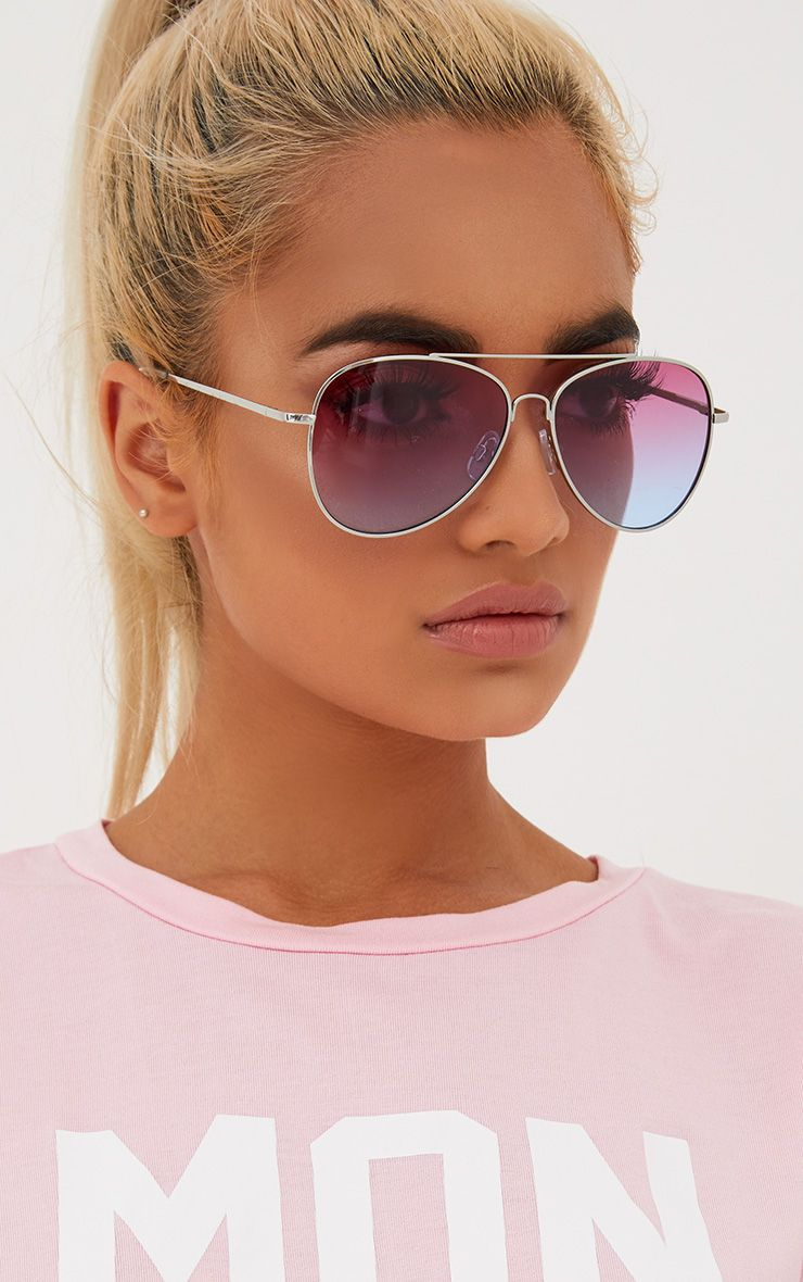 Lilac Fade Aviator Sunglasses