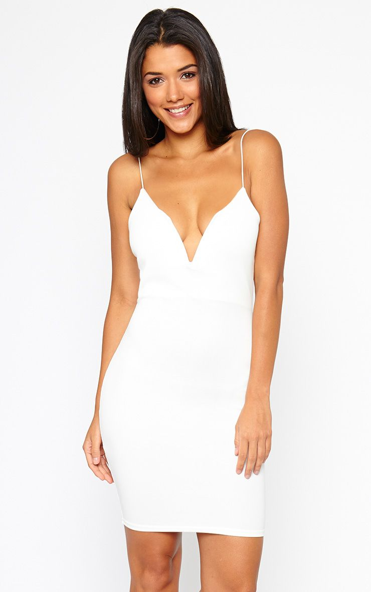 Marisole Cream Plunge Front V Bar Dress 1
