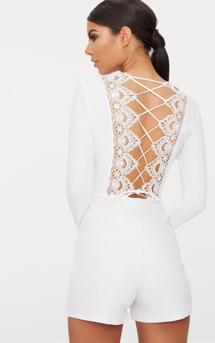 White Lace Up Back Playsuit