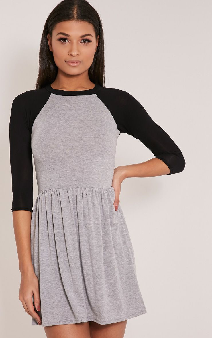 Amania Grey Raglan Sleeve Skater Dress 1