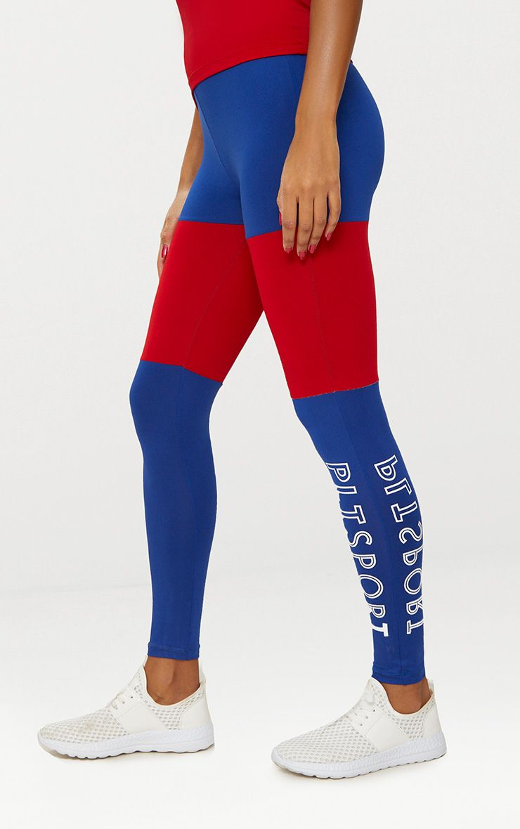 Cobalt Colour Block Sports Leggings