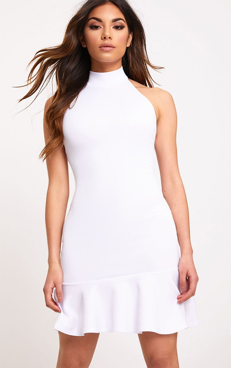 White High Neck Frill Hem Bodycon Dress