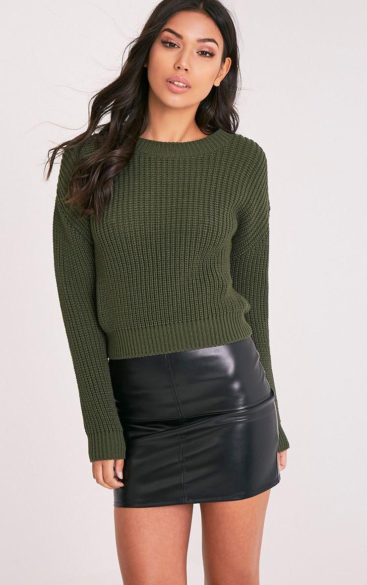 Cara Khaki Knitted Crop Jumper 1