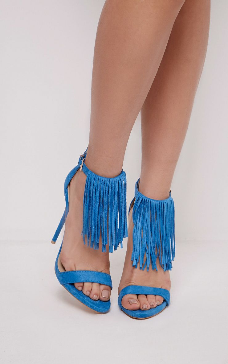 Billie Cobalt Faux Suede Fringed Heeled Sandals 1