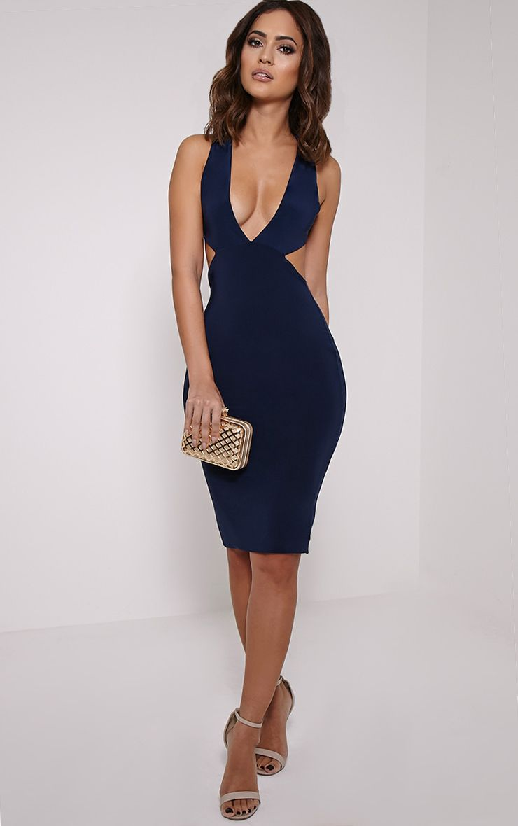Petite Biddy Navy Deep Plunge Midi Dress