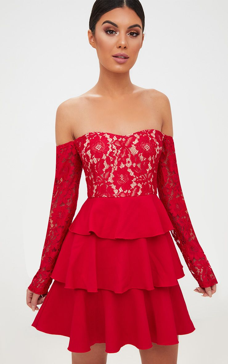 red lace top frill detail skater dress